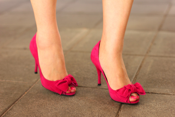 Hot Pink Suede Peep Toe Pump with Bow