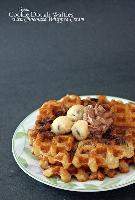 vegan cookie dough waffles with chocolate whipped cream