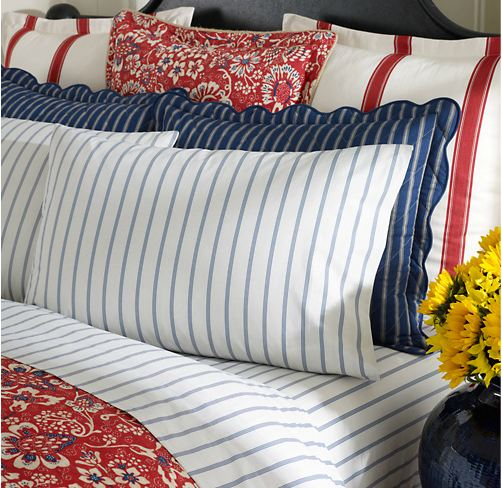 Red, White and Blue Stripes and Paisley Bedding