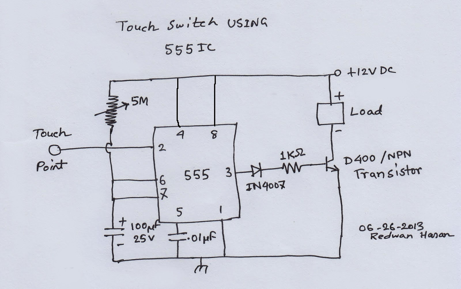 Scavenger\'s Blog: Touch Switch Using 555 IC - Hobby Electronics