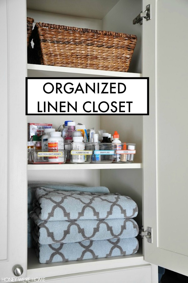 Since We Donu0027t Have A Traditional Medicine Cabinet, I Keep Our Medicine In  Clear Divider Bins In Our Linen Closet In The Master Bathroom.