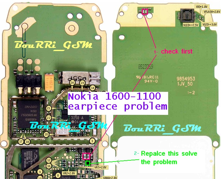 Nokia 1600, 1100 earpiece problem