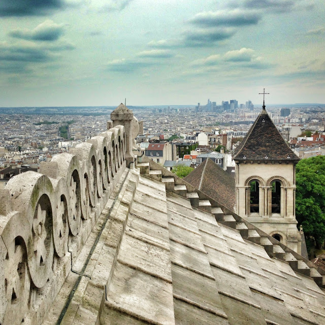 View from the roof of Sacre Coeur in Montmartre Paris