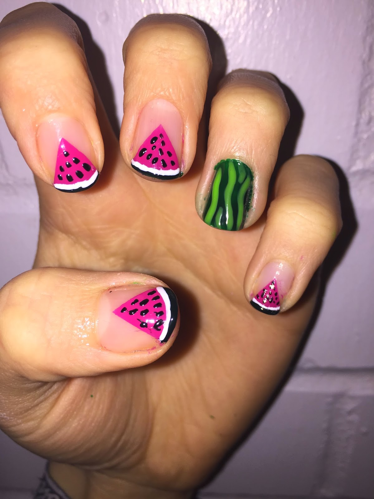 Laras Nails Negative Space Watermelon Nail Art Tutorial