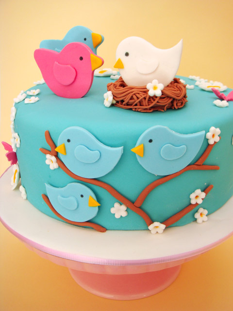 Nesting Birds Baby Shower Cake and Cookies