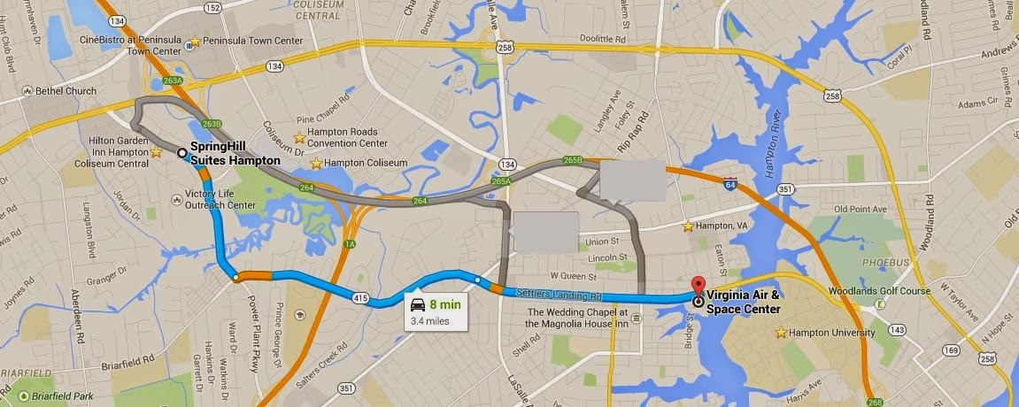 map showing Virginia Air & Space Center is 8 miles/ 3 minutes from SpringHill Suites Hampton Virginia