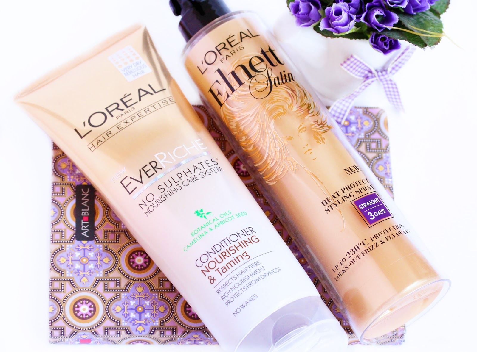 L'oreal haircare products, L'Oreal Elnett Heat Spray, L'Oreal Ever Riche Conditioner