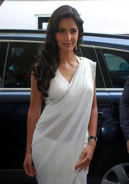 bollywood katrina kaif white saree hot images