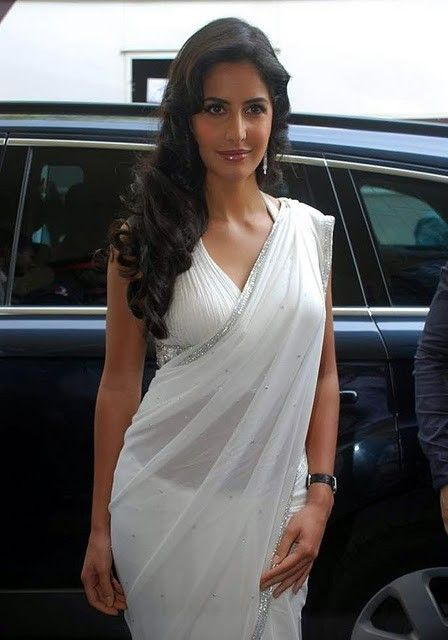 Bollywood Actress Katrina Kaif White Saree Stills Photogallery wallpapers