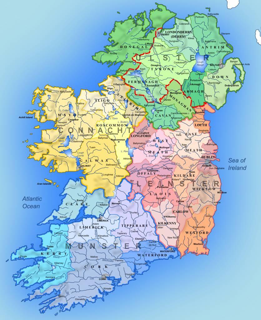 Carte des deux Irlandes