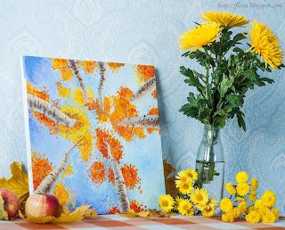 живопись маслом, живопись деревья осень, деревья листья осень