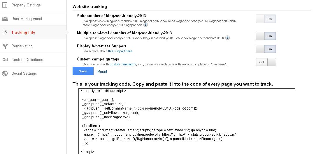 Image tampilan tracking info google analytics