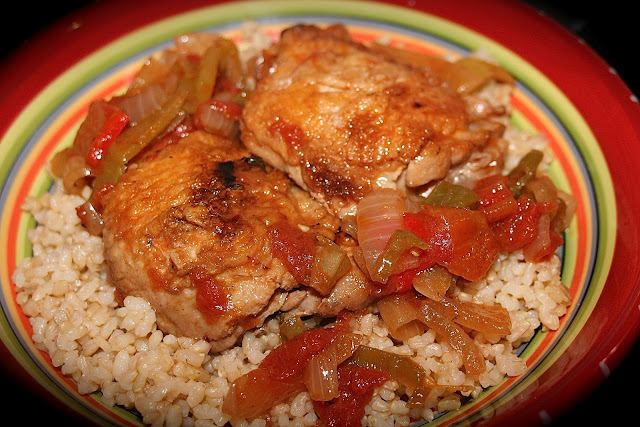 Chicken peppers Basquaise