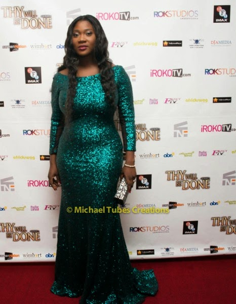Mercy Johnson at thy will be done movie premiere