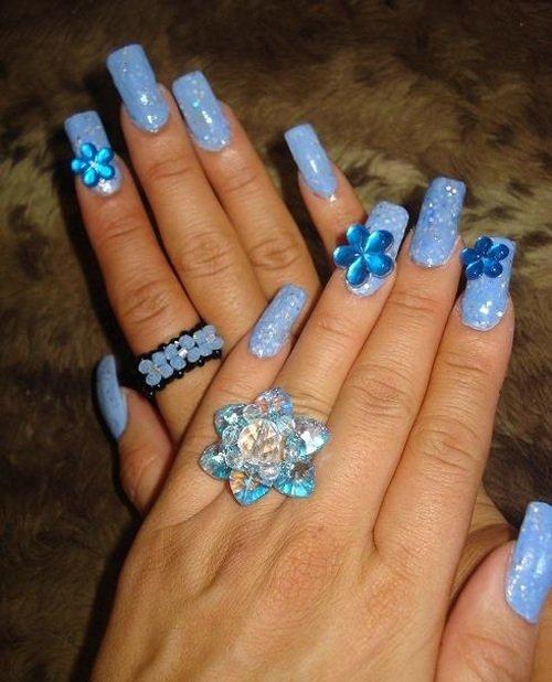 Фото дизайн ногтей голубой