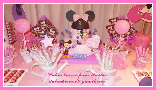 Cumpleaños tematicos infantiles de Minnie Mouse Rosa y Violeta