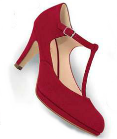 Zapato rojo tira cruzada