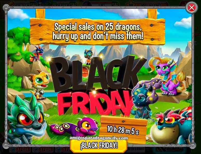 imagen de los dragones especiales del tercer dia del black friday de dragon city