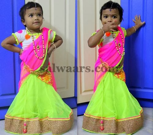 Kid in Light Green Half Saree