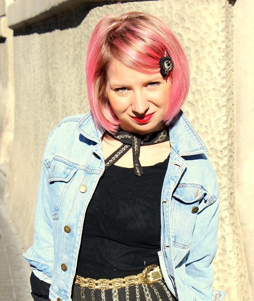 pelo rosa chaqueta vaquera vintage