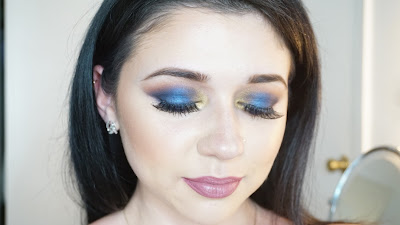 blue and gold eyeshadow tutorial