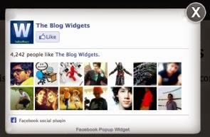 Caja Me gusta de Facebook en popup