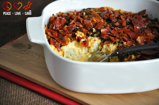 "Caramelized Onion and Proscuitto ""Mac and Cheese"" from Peace, Love and Low Carb"