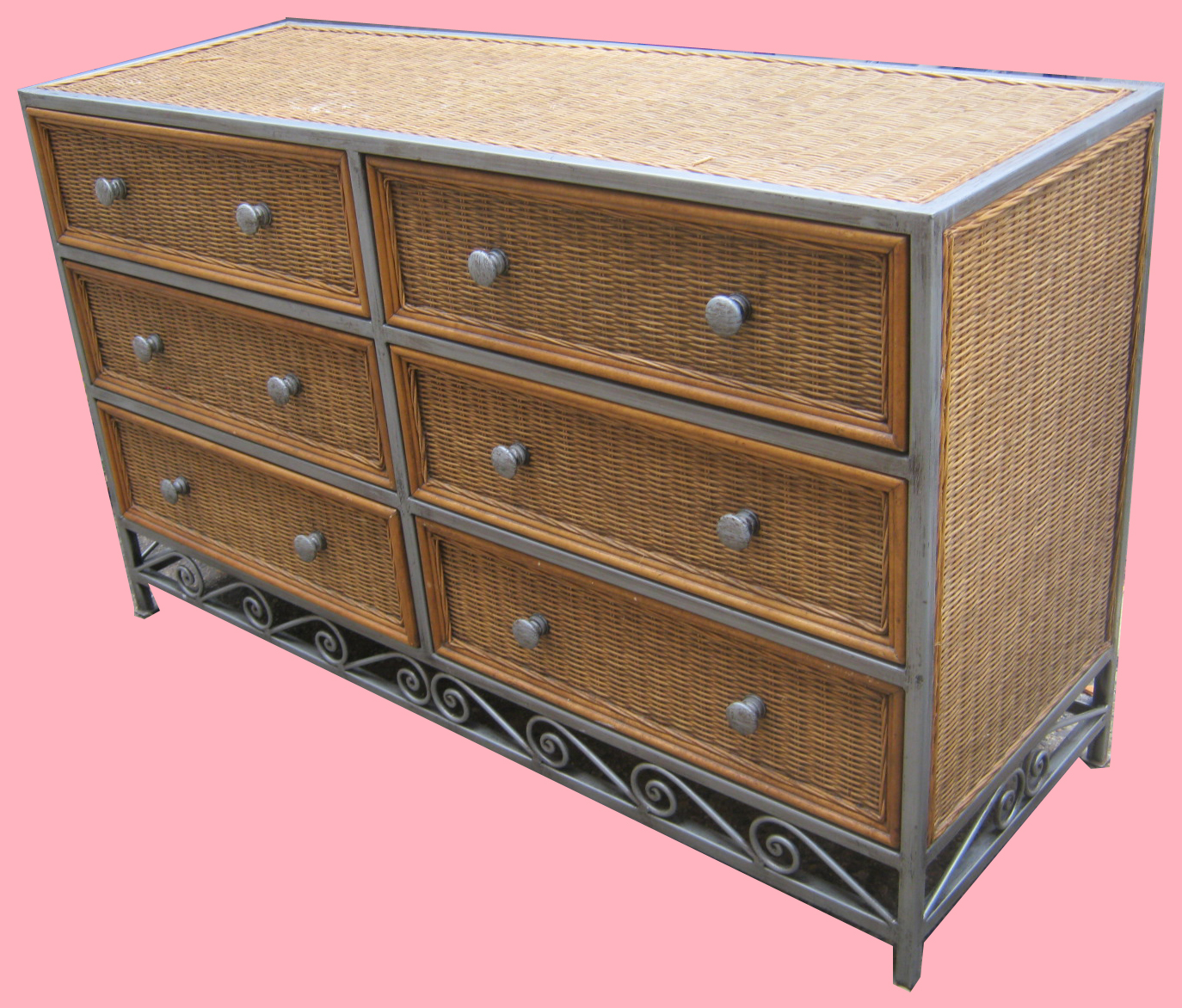 Uhuru furniture collectibles wicker brushed metal for Metal bedroom furniture