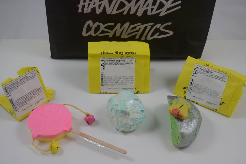 "Schaumbäder ""Drummers Drumming"", ""Christmas Hedgehog"" und  ""Holly Golightly"" von Lush"
