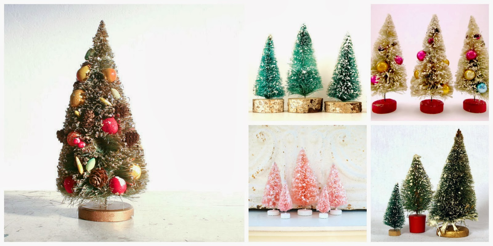 bottle brush trees, christmas, vintage, etsy