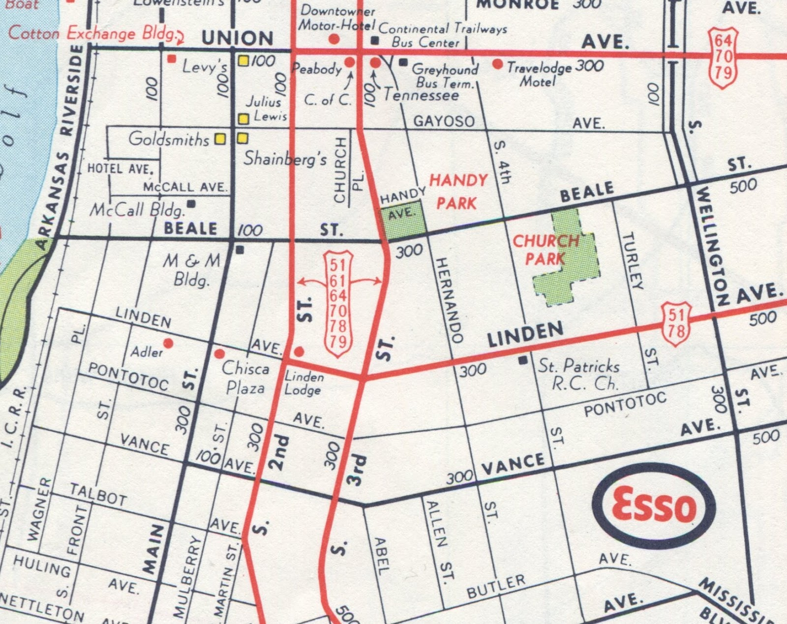 this map also uses an especially elongated shield to indicate the many us highways that converge downtown despite the construction of the hernando de soto