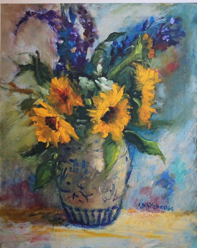 sunflowers in vase high resolution print of oil painting