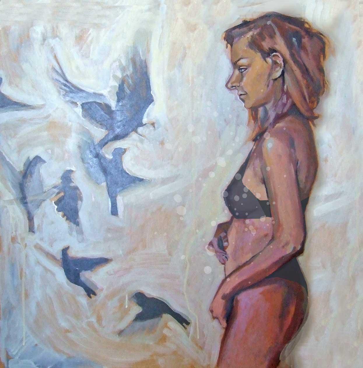 człowiek natura konieta ptaki macierzyństwo Urbaniak malarstwo portrait oil paint naked woman nature birds