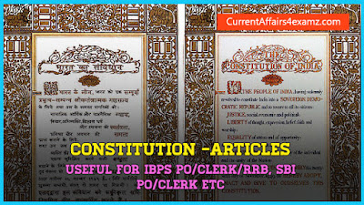 Important Articles in Constitution