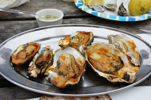 Barbecued Oysters at Hog Island Oyster Farm