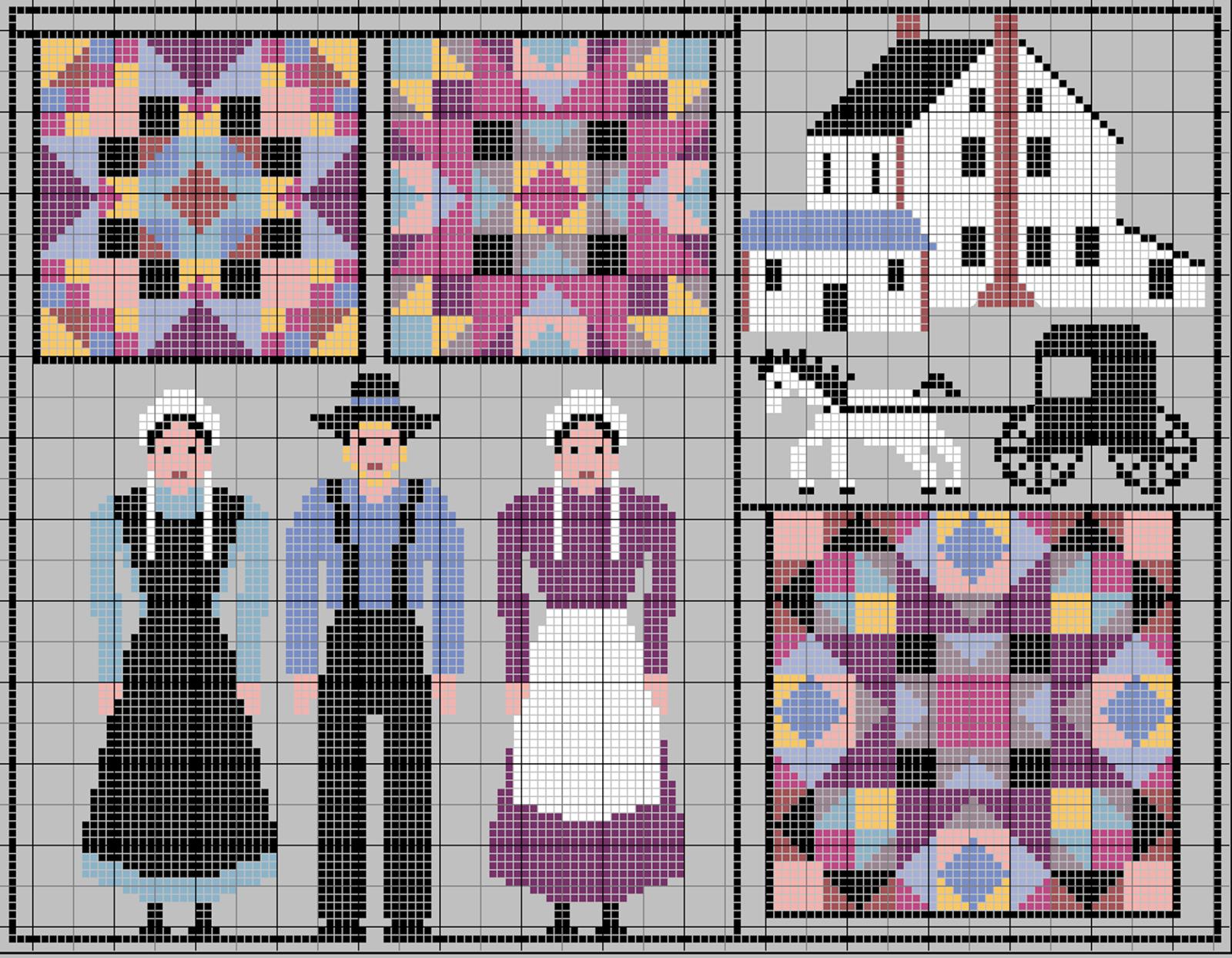 Amish Life, Amish Quilts, Pattern Amish, Amish Cs, Cross Stitch Patterns