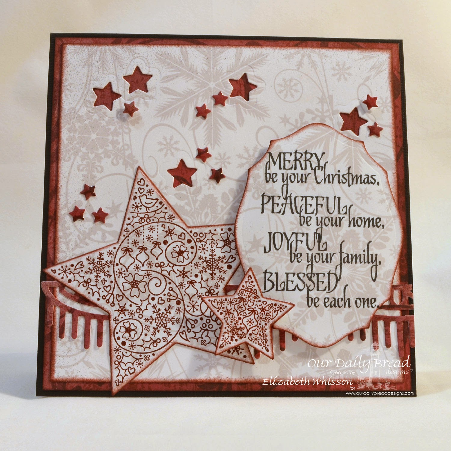 Our daily Bread Designs, Elizabeth Whisson, ODBD Sparkling Stars dies, His Birth, Christmas Card, Distress Ink Aged Mahogany, Beautiful Borders, Elegant Ovals