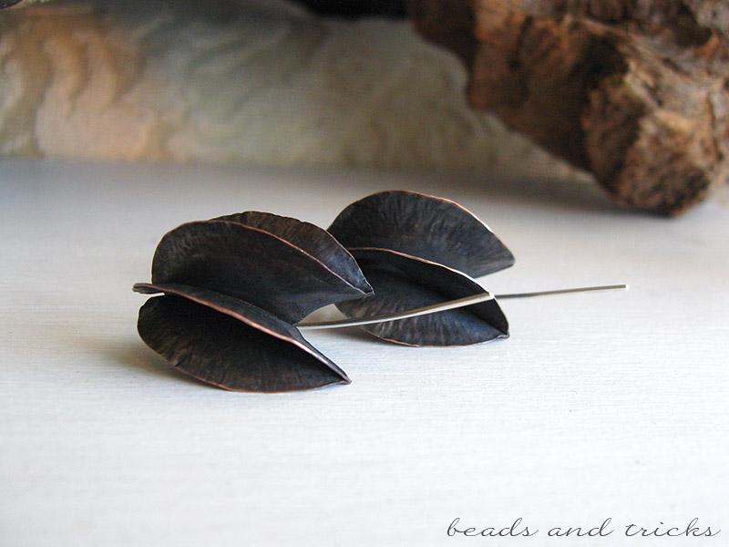 Orecchini in rame e argento, foldforming