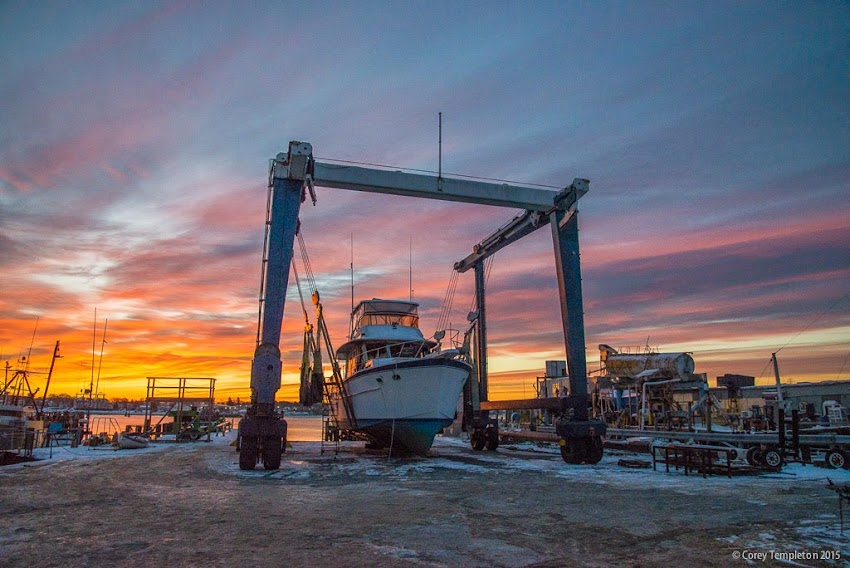 Portland, Maine USA Boat out of water at sunrise photo by Corey Templeton January 2015