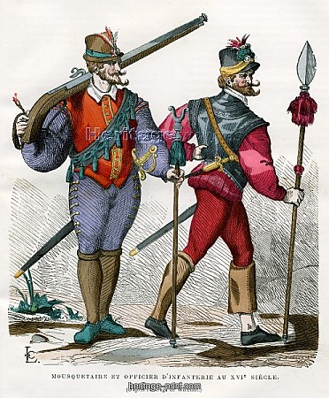 L'uomo e le armi. Musketeer-and-infantry-officer-16th-century-1882-1884_1879815
