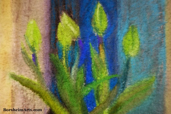 Green Tulips Detail of Pastel Painting art