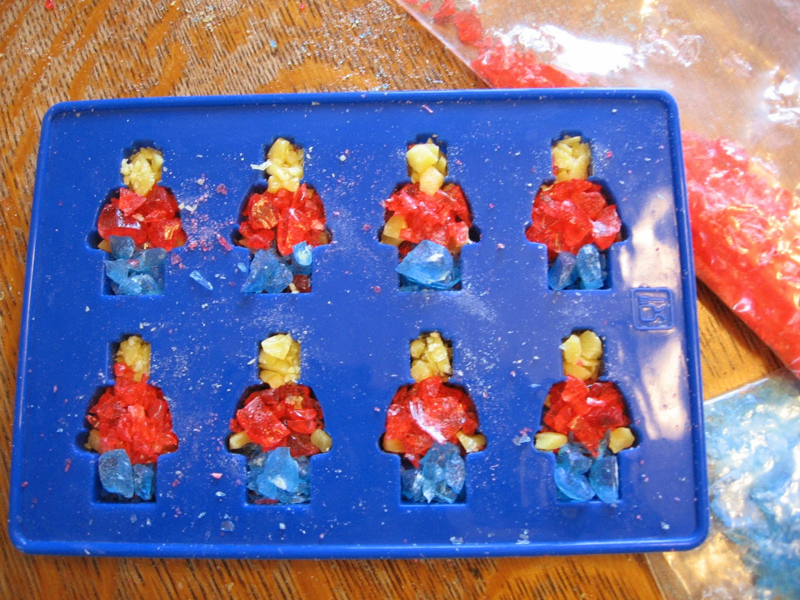 Our First Batch Of Men Looked A Little Like Murder Victims As We Had Allowed Small Bits The Red Candy To Mix In With Yellow While Were Filling