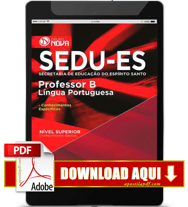 Apostila SEDU ES 2015 PDF Download Professor Língua Portuguesa