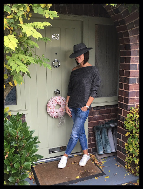 My Midlife Fashion, Zara Off the shoulder cashmere jumper, distressed cigarette jeans, white leather trainers, trilby