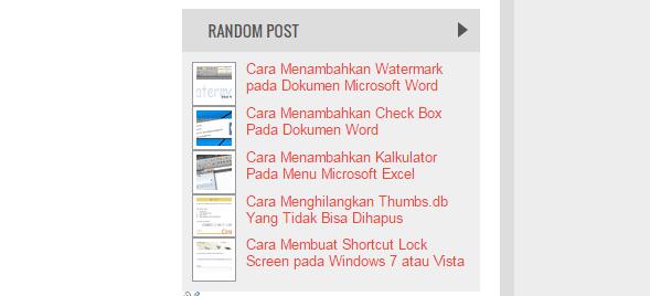 Cara Terbaik Menambahkan Widget Random Post Dengan Atau Tanpa Gambar