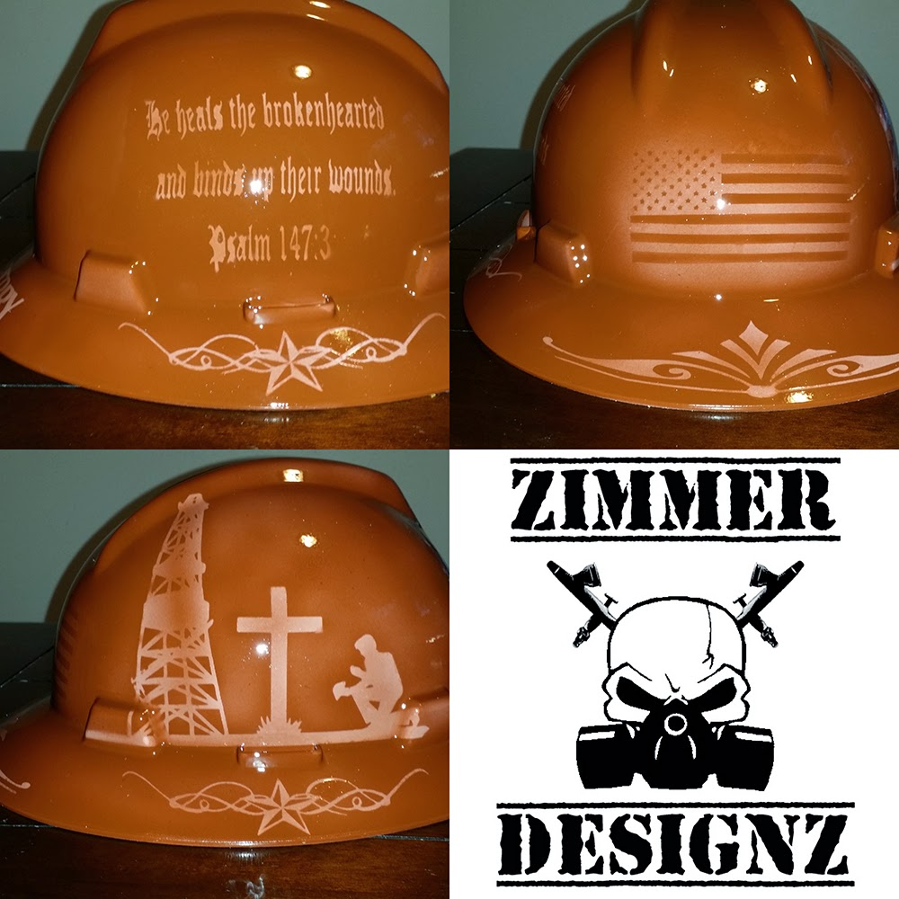 custom airbrushed hard hat faux leather