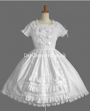 Pure White Lace and Ruffle Sweet Lolita Dress