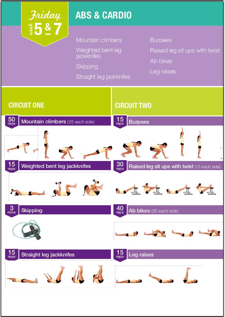 Voorbeeld van Kayla's workouts