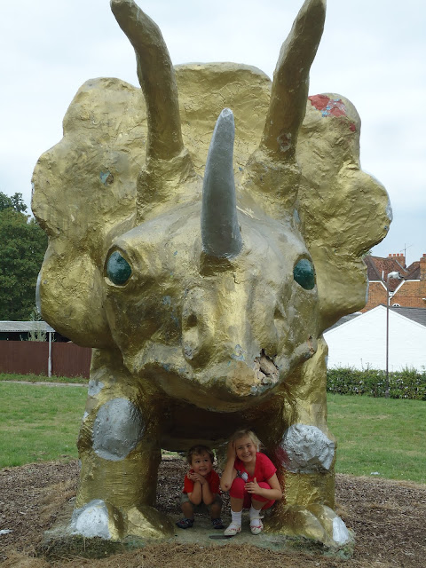 Top Ender and Big Boy under the Triceratops at Peartree Bridge Milton Keynes