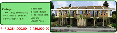 Karinya 2-Storey Townhouse 2M 2BR 2TB Maid's Room, Carport and Service Area House and Lot For Sale Liloan Cebu